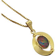 9K Gold Vintage Retro 1960's Colourful Opal Triplet Pendant with 9K Gold Necklace