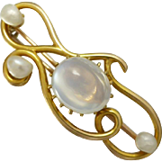 Art Nouveau c1900 Shimmering Moonstone and Natural Pearl Brooch in 15k Gold