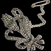 Vintage 1940's -50's Sterling Silver Sparkling Marcasite Tulip Flower Brooch