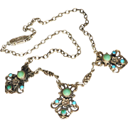 English Arts & Crafts Silver Turquoise Necklace, Signed Z.VI & Co, Made in England