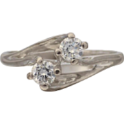 """Vintage 70's Twined """"Toi et Moi"""" Upswept Diamond Engagement Ring in 18ct White Gold"""