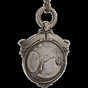 Vintage c1937 Charming Sterling Silver Darts Award Medal Fob Pendant, Scroll Design