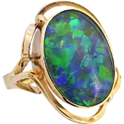 Vintage Retro 60's Vibrant Green & Blue Opal Triplet Ring in 9ct Yellow Gold
