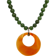 Upcycled Vintage 9mm Nephrite Jade Bead Strand with Large Carnelian Agate Disc Pendant
