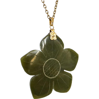 Vintage 1970's Very Large Carved Nephrite Jade Flower Pendant Necklace