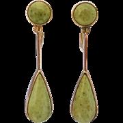 Antique Edwardian c 1910 Turquoise Drop Earrings in 9K Rose Gold