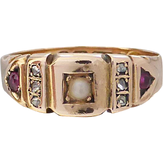 Antique Victorian c1890 Rose-cut Diamond, Ruby and Pearl Ring in 15K Gold, English Hallmarked