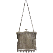 Antique c1916 English Sterling Silver Mesh Purse, London Hallmarks