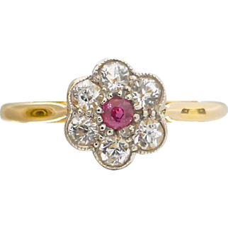 Vintage Art Deco c1930 Natural Pink and White Sapphire Cluster Ring in 18ct Gold