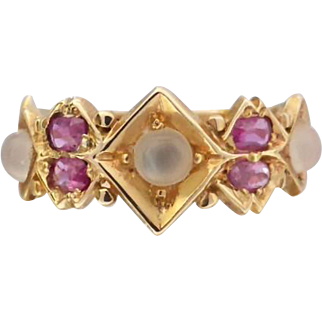 Antique Victorian 15K Gold Ruby and Moonstone Ring, Size 5 or J