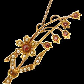 Antique Art Nouveau c1900 Garnet & Seed Pearl Tulip Flower Brooch by Willis & Co