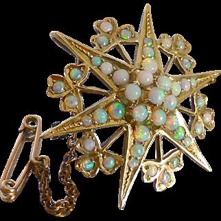 Antique Victorian c1900 Australian Opal Star & Clover Brooch Pendant in 15K Gold