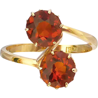 Upcycled Antique Madeira Citrine Toi Et Moi Ring in 18ct Gold
