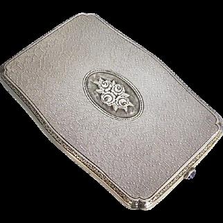 Vintage c1930 Feminine Dutch 935 Silver Case with Cabochon Sapphire Thumbpiece