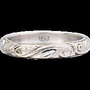 Vintage Art Deco Engraved 18K White Gold Wedding Band Ring, 3mm wide