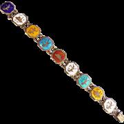 Vintage Pre 1950's Siam Colorful Enamel Sterling Silver Bracelet