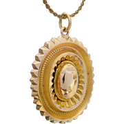 Upcycled Antique Victorian Revival Etruscan Pendant in 9K gold