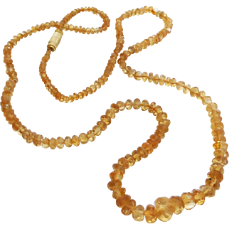 """Graduated Faceted Natural Golden Citrine Strand Necklace, 23.5"""""""