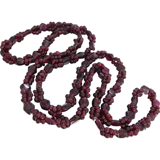 "Vintage Natural Rhodolite Garnet Beaded 31"" Necklace, No Clasp"