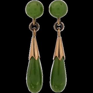 Vintage 1970's Green Nephrite Jade 14K Gold Dangle Earrings