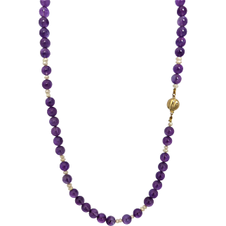 """Mid-Deep Purple Natural Amethyst and Freshwater Pearl 20"""" Necklace, 14K Gold Clasp"""
