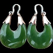 Vintage 1970's Green Nephrite Jade and 14K Gold Hoop Earrings