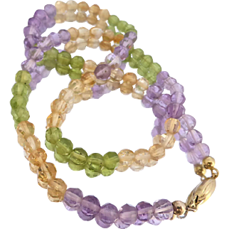 """Natural Quartz Amethyst, Citrine and Peridot Gemstone Faceted Bead Necklace, 16.5"""""""