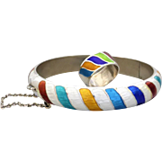 Vintage Pre 1950's Siam Sterling Silver Colourful Enamel Stripe Bangle and Ring Set