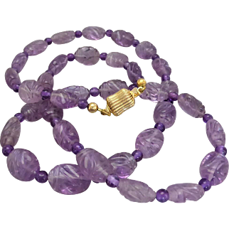 Vintage 1970's Carved Amethyst Bead Necklace, Gold-tone Barrel Clasp