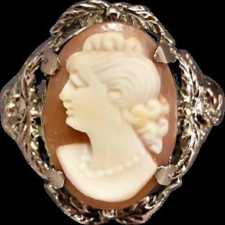Vintage 9k Rose Gold Shell Cameo Ring, Leaf & Flower Accents, c1940