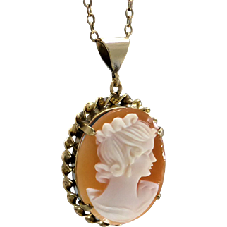 Vintage 70's Pretty Cameo Pendant with Rope Border, 9K Gold with Old Necklace