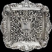 Antique Art Nouveau c1900 Repousse Sterling Silver Petite Bon Bon Pin Dish by Walker & Hall