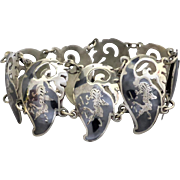 Vintage c1950 Sterling Silver Thailand Mekkala Dancing Goddess Niello Bracelet