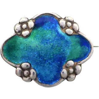 Arts and Crafts Murrle Bennett 950 Silver Brooch with luminous Blue Green Enamel