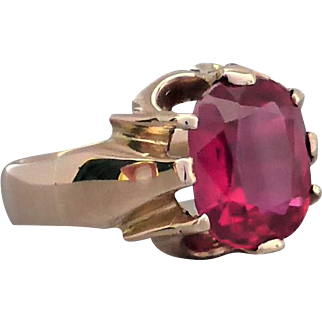 Vintage Unisex Luscious Candy Red Cushion-cut Synthetic Ruby Ring, Belcher-set