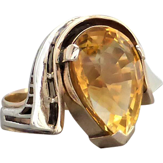 Large Retro Psychedelic Golden Citrine Cocktail Ring