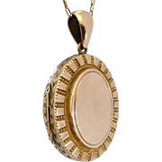 Antique Victorian Granulated and Engraved Oval Locket, 9K Front & Back