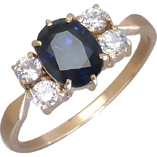 Vintage 14K Gold Blue and White Sapphire Ring, Low Claw Setting