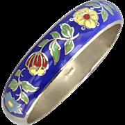 Vintage 1950's Pretty Royal Blue with Flower & Leaf Vine Enamel Bangle, Thailand Sterling Silver