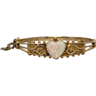 Antique c1900 Solid Heart Opal Bracelet Bangle in 15K Gold, Small Size