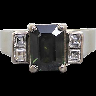 Vintage 70's Green Sapphire & Carre Cut Diamond Ring in 18K White Gold & Palladium