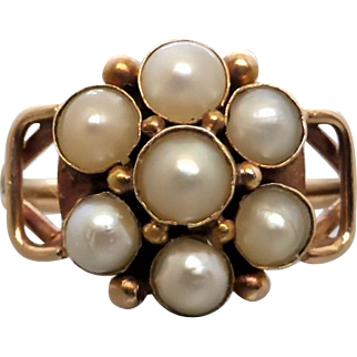 Antique Victorian Pretty Half Pearl Cluster Ring in 15k Gold