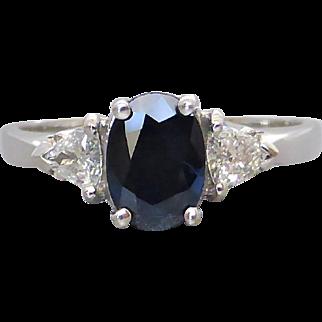 Estate 18K White Gold Natural Dark Sapphire & Trilliant Diamond Ring
