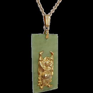 Vintage Nephrite Jade Plaque Pendant with Chinese Pu-Tai Laughing Buddha Motif
