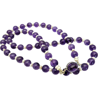 """Luscious Purple Natural Amethyst & Freshwater Pearl Necklace, Cabochon Amethyst Clasp, 22"""" inch"""