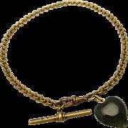 Antique Gilt Belcher Watch Chain Fob with Nephrite Jade Heart