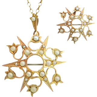 Antique Australian c1900 Seed Pearl Tulip Starburst Pendant Brooch in 9ct Gold