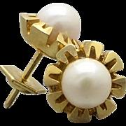 9K Gold White Akoya Pearl Fancy Cut-out Stud Earring