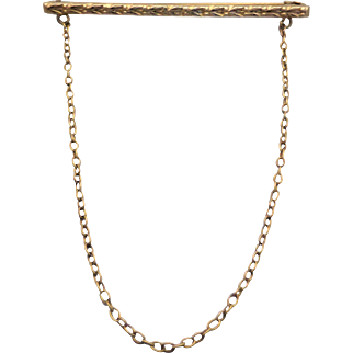 Vintage Australian 9ct Gold Engraved Bar and Chain Brooch by Rodd