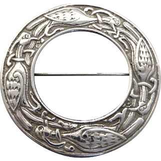 Vintage c1965 Sterling Silver Scottish Celtic Birds Zoomorphic Brooch by James Coull